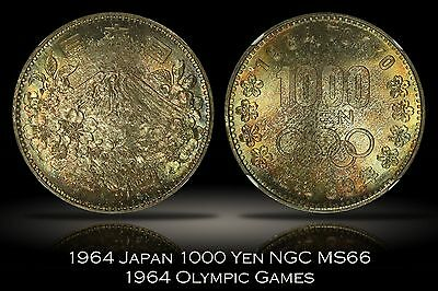 1964 Japan Olympics 1000 Yen NGC MS66 Attractively Toned & Lustrous Tokyo Games
