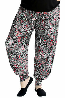 New Ladies Harem Plus Size Trousers Women Paisley Artsy Flared Ali Baba Nouvelle