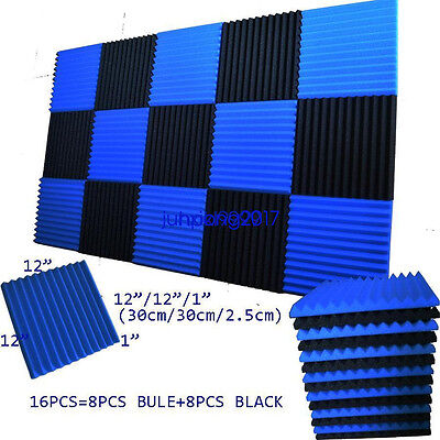 "1""x12x12 (16 Pack) Blue/CHARCOAL Acoustic Wedge Soundproofing Studio Foam Tiles"