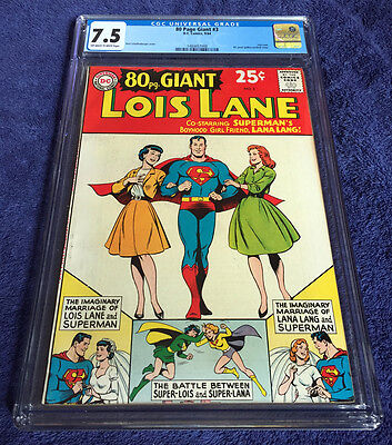 80 Page Giant #3 - Lois Lane & Superman - Cgc High Grade 7.5 - Rare 1964 Issue!