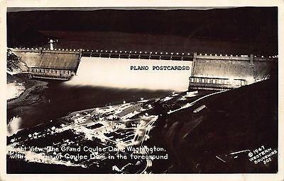 "Grand Coulee Dam, Washington ""Night View-1947."" Rppc Real Photo Postcard"