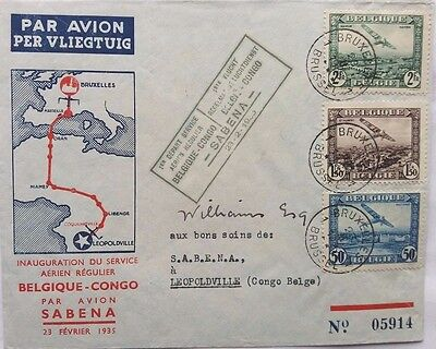 Belgium 1935 Illustrated Sabena Flight Airmail Cover To Belgian Congo