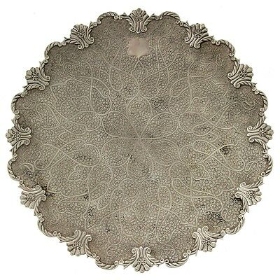 Antique Kashmir Silver Cake Tray On Pedestal Circa 1910