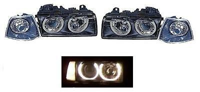 BMW 3 Series E36 Estate 1990-1998 Black Style Angel Eyes Headlights Lamps
