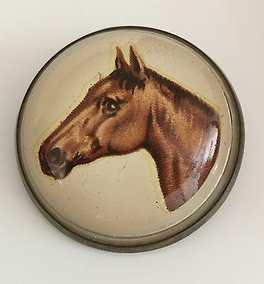Vintage Glass Horse Brooch - Bridle Pin - Equestrian Collectible