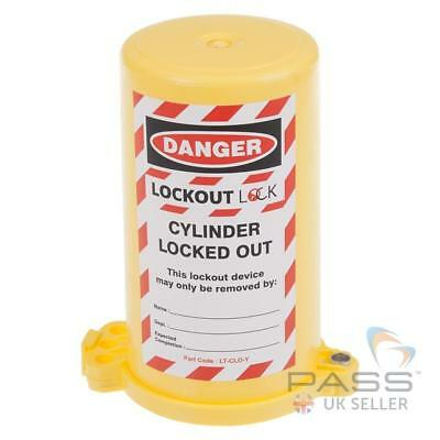 LOTO Gas Cylinder Lockout Fits 35mm Stem (Yellow)