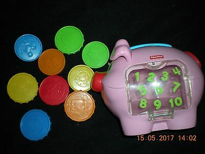 * * Fisher-Price Laugh & Learn Learning Piggy Bank Complete With 9 Coins * *