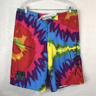 JIMI HENDRIX Psychodelic TieDye BOARD SHORTS MENS SIZE Large EXCELLENT Colorful
