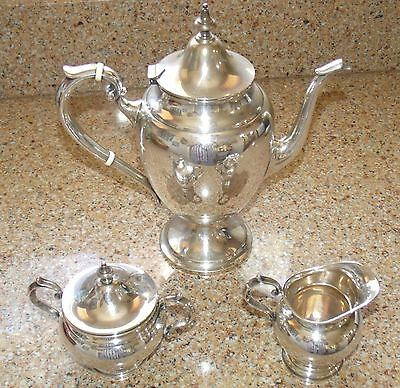 Unused Gorham Sterling Silver Coffee Tea Set 451 Pot 511C Sugar Bowl 512 Creamer