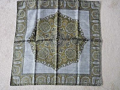 """New DAMON Pocket Square Silk Scarf Handkerchief Olive Italy Hand Rolled NWOT 18"""""""