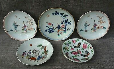 Chinese famille rose and other C18th saucers