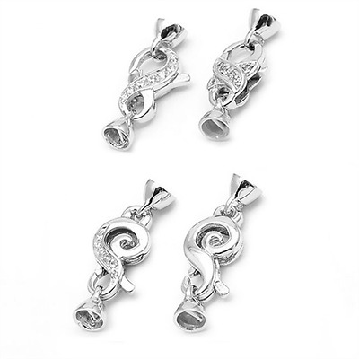925 Sterling Silver Micro Pave CZ Crystal Lobster Claw Claps Jewelley Findings