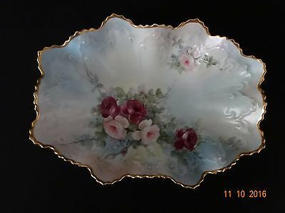 Antique Fine Porcelain Hand Painted Gilt Lip Bowl Roses - With Special Message