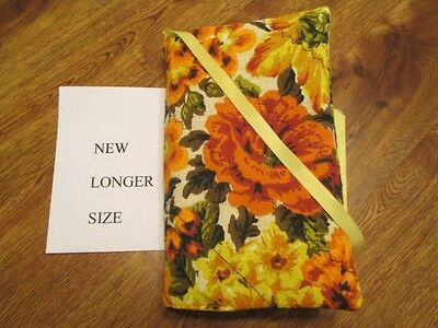 Orange Flower Print Handmade Quilted Longer Size Paperback Book Cover