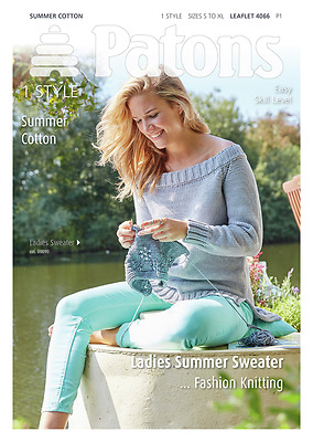 Patons Ladies Wide Neck Jumper Drop Back Hem Summer Cotton Knitting Pattern 4066