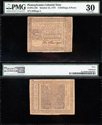 Awesome *RARE* Oct. 25, 1777 Pennsylvania 2s/6p Colonial Note! PMG 30! 2180