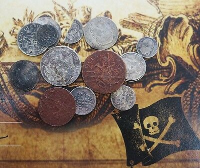 1750's-1900's DANISH WEST INDIES 14 SALVAGED TREASURE COIN LOT WITH 14 COA's
