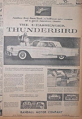 1958 newspaper ad for Ford - Thunderbird, New version of great American classic