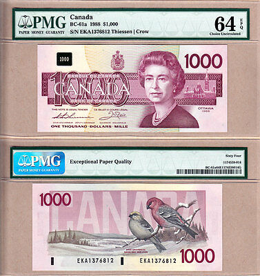 1988 $1000 Bank of Canada Bird Series in PMG CH UNC64 EPQ