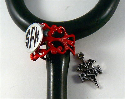Stethoscope Id Tag Ring Cuff  Red Lace Charm, Rn Caduceus Charn, Emt,dr,vet.er,