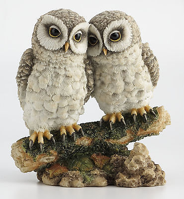Owl Lovers on Branch Statue Sculpture Figurine - WE SHIP WORLDWIDE