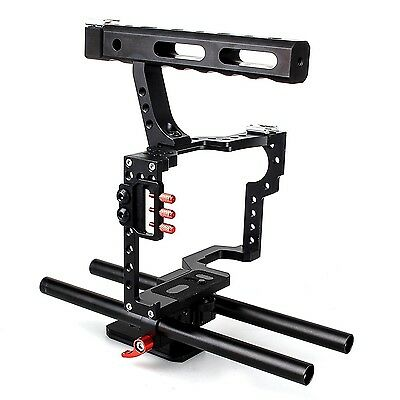 EACHSHOT DSLR Rod Rig Camera Video Cage Kit & Handle Grip f. Sony A7 A7II A7r...