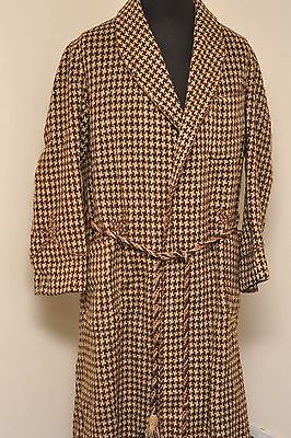 Vintage English Tweed Wool Brown / Oatmeal Robe Dressing Gown Small -Medium Ez42