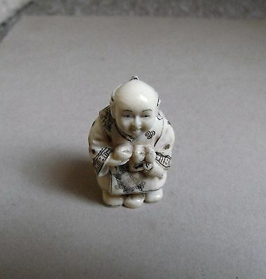 Netsuke Fruit Seller Japanese Hand Carved,signed With Cord Holes