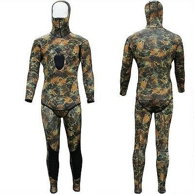 New Camouflage Spearfishing Wetsuit SCUBA Diving Hooded Hood 3mm Camo 2 Piece