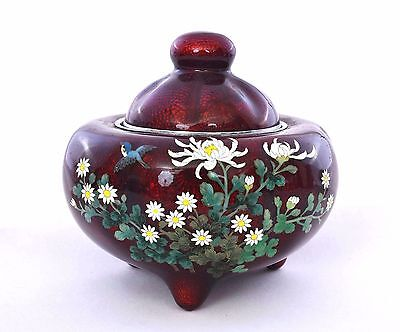Japanese Pigeon Blood Cloisonne Enamel Censer Incense Burner Koro