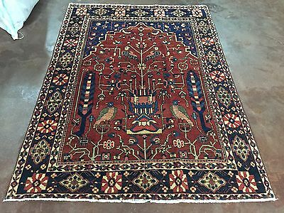 "Great Semi Antique Hand Knotted Persian Bakhtiari Rug Carpet 5x7,4'9""x6'8"""