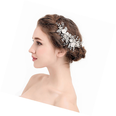 AWEI Silver Wedding Hair Clip with Beads and Rhinestones - Handmade Bridal Headp