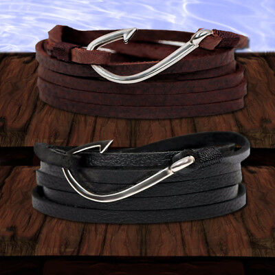 VIKING FLY HOOK Anker Leder Wickelarmband Surfer Herren / Damen Schmuck Anchor