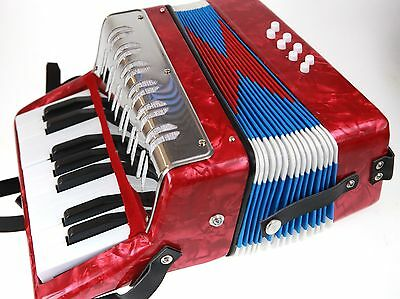 Piano Accordion Blue  Or Red New Childs  Music Kids Grt Starter Instrument