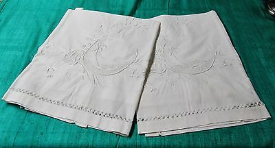 Antique Pair Large Lay Over Pillow Shams Embroidered Birds & Flowers Drawnwork