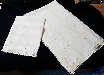 Antique Linen Sheet & Pillow Case Pair Net Lace Bands MOP Buttons
