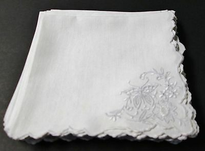 Antique 12 Linen Napkins MADEIRA Eyelet Butterfly & Floral Embroidery in Corner