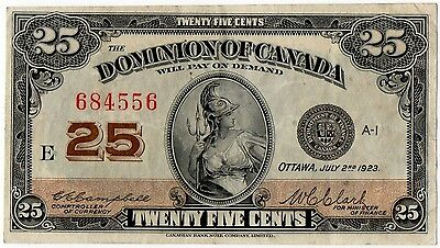 1923 Dominion of Canada - 25 Cent Bank Note (Campbell / Clark) - Nice!