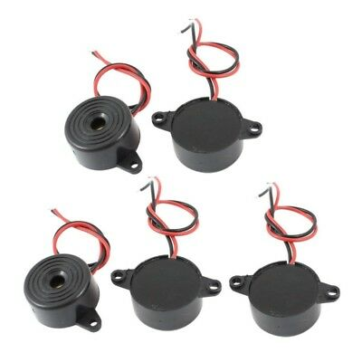 5 Pcs DC 3-24V 85dB Sound Electronic Buzzer Alarm Black 23 x 12mm V8I6