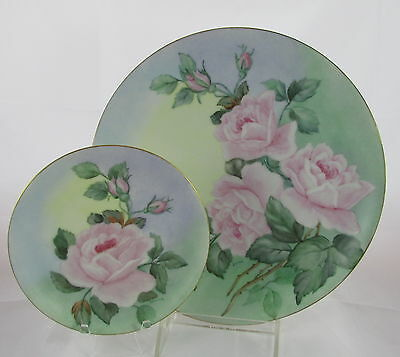 Old German Porcelain Hand Painted Artist Signed Roses Dinner&Small Plate Set #8