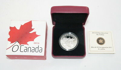 2013 $10 Fine Silver Coin Royal Canadian Mint The Caribou OGP - FREE Shipping