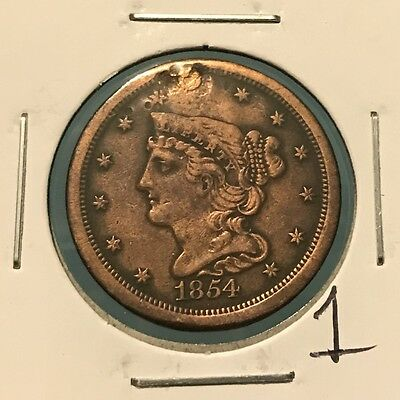 1854 1/2C Braided Hair Half Cent: Holed and Plugged #1