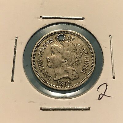1865 3C Nickel Three Cent: Holed #2