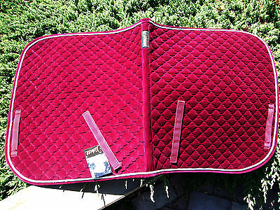 """Dressage Saddlecloth Numnah """"Isabell"""", wine red & silver stitching, 100% cotton"""