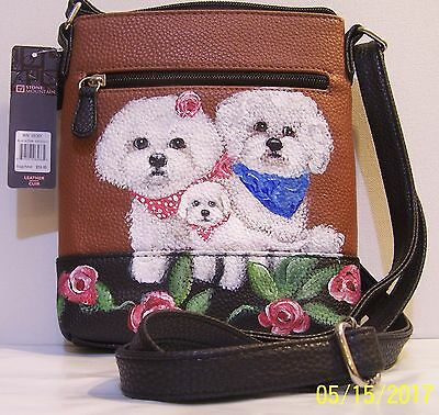 hand painted Bichon Frise dog genuine leather Stone Mountain crossbody bag