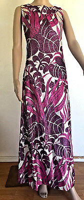 VTG Montigo Bay Lame Purple Psychedelic Maxi Dress Sz 12 60's sleeveles ART DECO