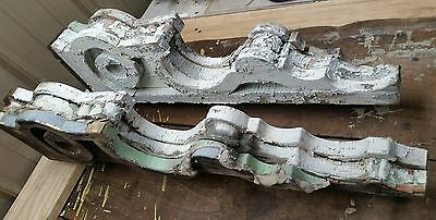 1890's Antique Pair(2) Wood Corbels Brackets Victorian Gingerbread Chic White G3