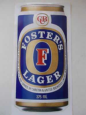 VINTAGE FOSTERS LAGER 1980s - Original Vinyl Sticker - 26cm Bar Fridge Door Rare