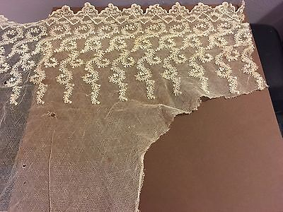 "ANTIQUE/VINTAGE IVORY/CREAM LACE WITH BEAUTIFUL DETAILING 24"" x 6-12"""