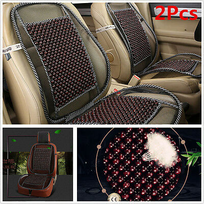 2X COOLING Natural Wooden Beads Car Seat Cushion Mesh Mat Home Chair ...